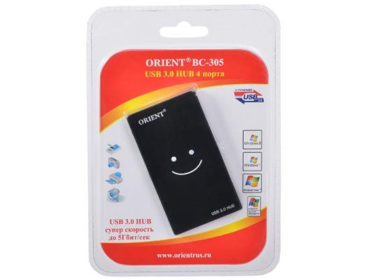 Концентратор USB 3.0 ORIENT BC-305 4 х USB 3.0 черный концентратор usb 3 0 orient bc 306 4 х usb 3 0 черный