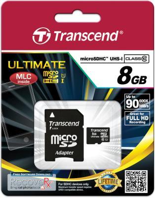 Карта памяти Micro SDHC 8GB Transcend UHS-I 600x Class 10 (TS8GUSDHC10U1) transcend sdhc class 10 8gb ts8gsdhc10 карта памяти