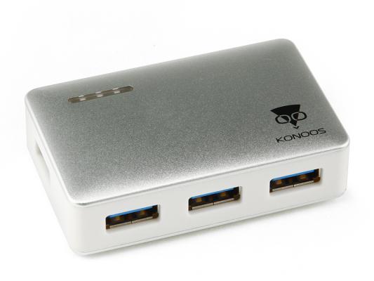Концентратор USB 3.0 Konoos UK-33 4 х USB 3.0 серебристый