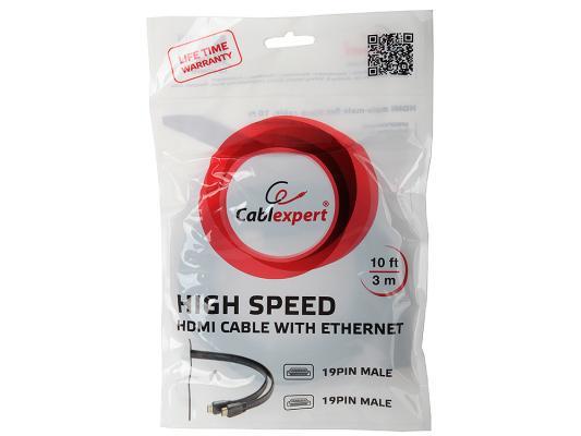 Кабель HDMI 3.0м Gembird v1.4 плоский кабель черный позол.разъемы CC-HDMI4F-10
