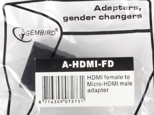 Переходник HDMI-micro HDMI Gembird золотые разъемы A-HDMI-FD