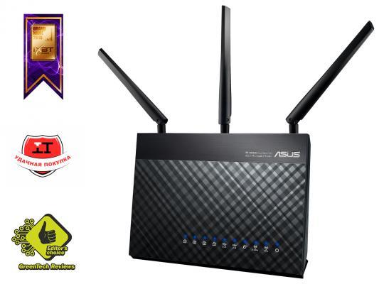 Беспроводной маршрутизатор ASUS RT-AC68U 802.11acbgn 1900Mbps 5 ГГц 2.4 ГГц 4xLAN USB3.0 черный asus rt ac68u wireless router