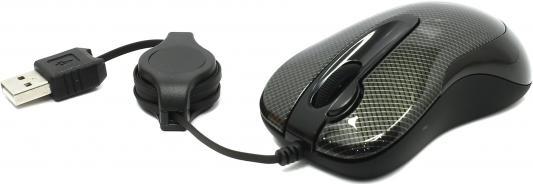 Мышь проводная A4TECH N-60F-2 Carbon чёрный USB мышь проводная a4tech n 350 2 чёрный красный usb