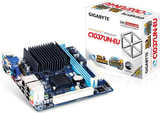 Материнская плата GigaByte GA-C1037UN-EU Intel Celeron 1037U NM70 2xDDR3 1xPCI 2xSATAII 1xSATAIII 7.1 Sound 2xGLan HDMI D-Sub mini-ITX Retail