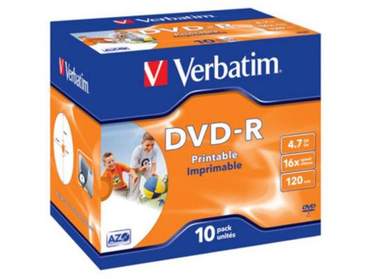 Диски DVD-R 16x 4.7Gb Jewel 10шт Printable Verbatim 43521