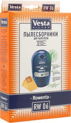 Бумажные пылесборники Vesta filter RW 06, для пылесосов(см описание), 5 шт в упаковке + фильтр пылесборники vesta vesta lg 02 s синт