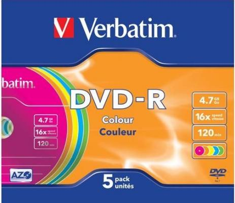 Диски DVD-R 16x 4.7Gb SlimCase (5шт) Color Verbatim [43557]