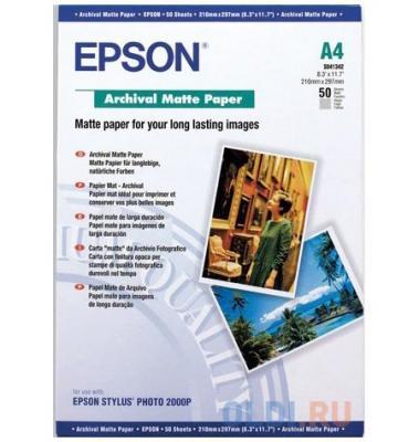 Фотобумага Epson C13S041342 A4 192 г/кв.м матовая архивная 50л фотобумага epson a4 255 г кв м глянцевая 50л c13s041624