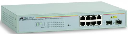 Коммутатор Allied Telesyn AT-GS950/8 8-port 10/100/1000TX WebSmart switch with 2 SFP bays медиаконвертер allied telesyn at mc103xl 60 100basetx to 100basefx медиа конвертер