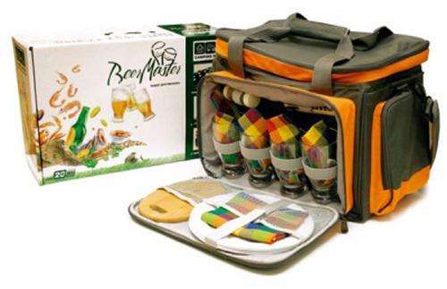 Набор для пикника CW Beer Master PL-002 на 4 персоны серый/оранжевый пивной набор с посудой + изотермическое отделение