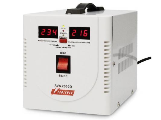 Стабилизатор напряжения Powerman AVS-2000D белый 2 розетки
