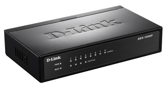 Коммутатор D-LINK DES-1008P неуправляемый 8х10/100Mbps