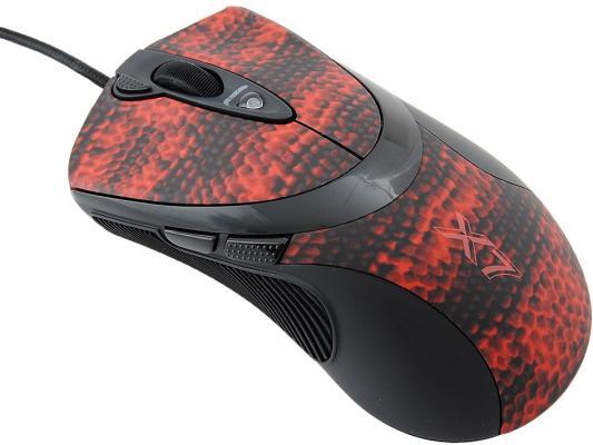 Мышь проводная A4TECH XL-740K чёрный красный USB
