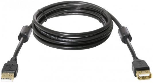 Кабель удлинитель DEFENDER USB02-10PRO USB2.0 AM-AF 3м, позолоченные кольца, 2фер. фильтра кабель удлинитель usb 2 0 am af 1 8м defender usb02 06 polybag