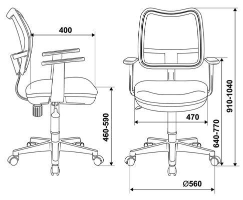 Кресло Buro CH-797AXSN/26-25 подлокотники T-образные спинка сетка черный сиденье серый 26-25