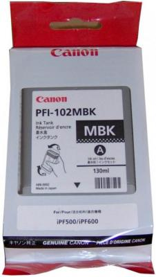 Картридж Canon PFI-102MBK для iPF500 iPF510 iPF600 iPF605 iPF610 iPF700 iPF710 iPF720 130мл черный матовый canon as 130 черный