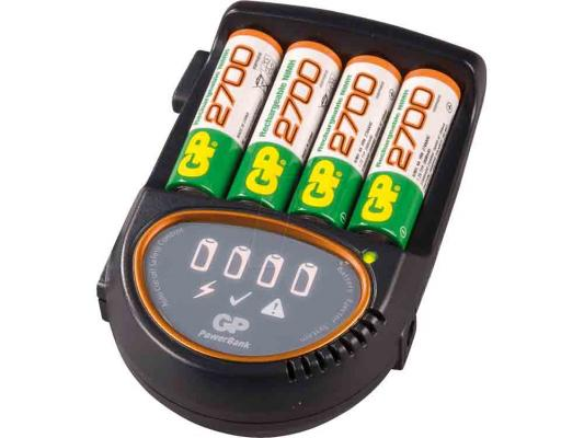 Зарядное устройство + аккумуляторы GP PB50 2700 mAh AA 4 шт РВ50GS270CA-2CR4 зарядное устройство gp u411270wa12fradapt 2cr4 10 аккумуляторы aa 2600mah 4шт