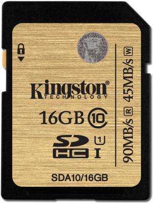 Карта памяти SDHC 16GB Class 10 Kingston SDA10/16GB карта памяти microsd 16gb 10 class c адаптером