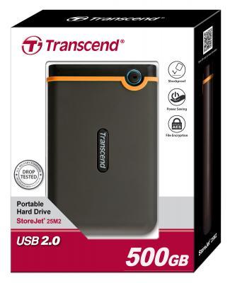 "Внешний жесткий диск 2.5"" USB2.0 500 Gb Transcend StoreJet 25 Mobile Black TS500GSJ25M/TS500GSJ25M2 Retail"