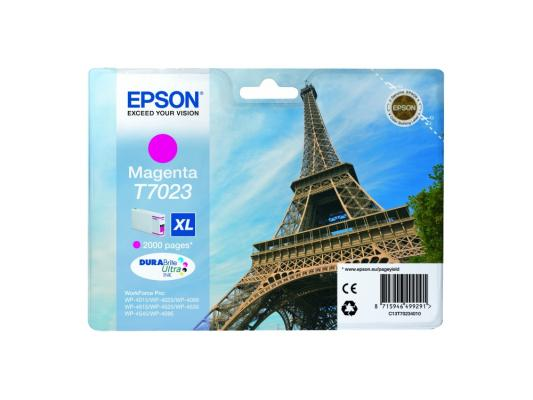 Картридж Epson C13T70234010XL для Epson WP 4000/4500 Series пурпурный 2000стр epson t7014 xl c13t70144010 yellow картридж для workforce pro wp 4000 5000 series