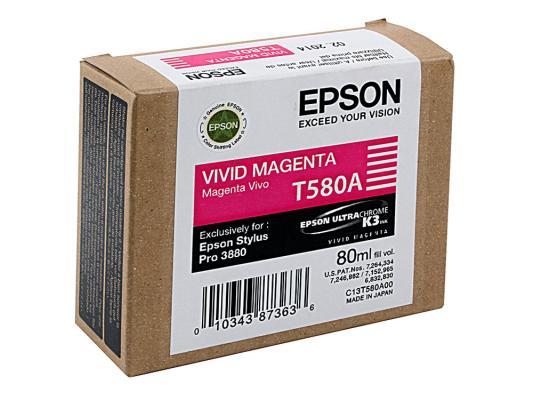 Картридж Epson C13T580A00 для Epson Stylus Pro 3880 Vivid Magenta картридж epson c13t580a00 для epson stylus pro 3880 vivid magenta