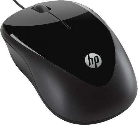 лучшая цена Мышь проводная HP X1000 чёрный USB H2C21AA