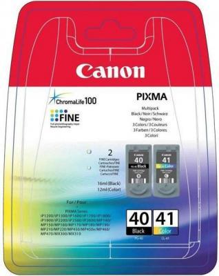Набор картриджей Canon PG-40/CL-41 для PIXMA MP450/MP170/MP150/iP2200/iP1600/iP6220D/iP6210D/iP22 черный и цветной 330/310 страниц картридж canon pg 40 черный pixma mp450 mp150 mp170 ip1600 ip2200 ip6210d 0615b025