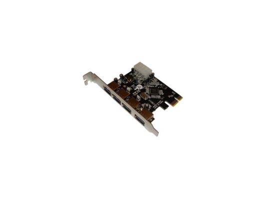 Контроллер Orient  VA-3U4PE PCIe to 4 port USB 3.0, допольнительный разъём питания, VIA, ret звуковая карта orient au 01n 3 5mm jack to usb