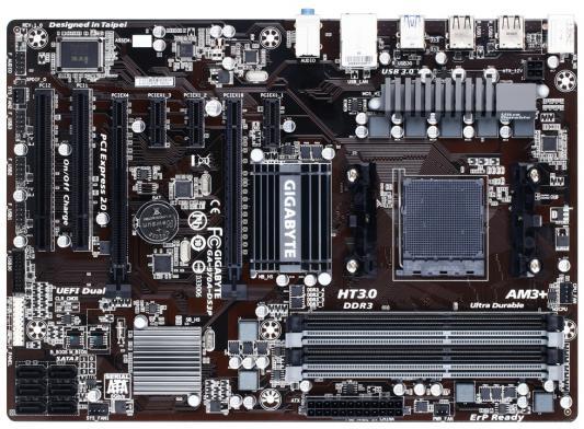 Материнская плата для ПК GigaByte GA-970A-DS3P Socket AM3+ AMD 970 4xDDR3 2xPCI-E 16x 2xPCI 3xPCI-E 1x 6xSATAIII ATX Retail