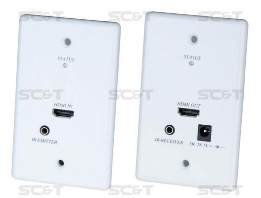 Комплект SC&T HW01 удлинитель для передачи HDMI с обратным ИК-повторителем в виде настенных врезных розеток