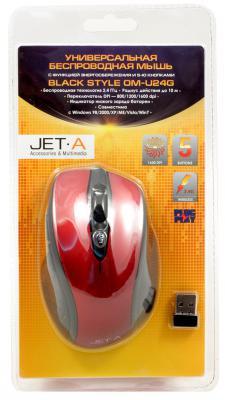 Мышь беспроводная Jet.A Black Style OM-U24G красный чёрный USB