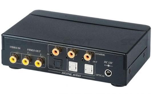 Разветвитель SC&T CD02D видеосигнал + цифровой аудио 1 вход/2 выхода 1хRCA видео 1хRCA цифр. аудио оптический аудио порт Toslink