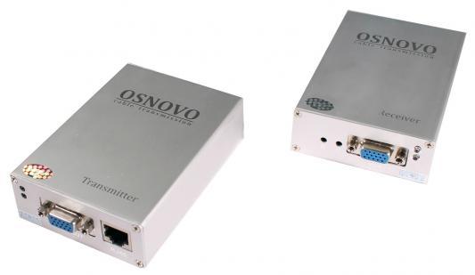 Комплект OSNOVO TA-V/4+RA-V/4 передатчик+приёмник для передачи VGA и аудиосигнала по кабелю UTP CAT5 до 300м пассивный комплект osnovo ppk 11 инжектор сплиттер для передачи poe по кабелю cat 5e
