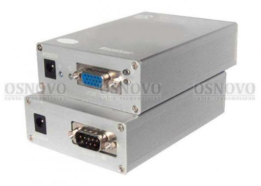 цена на Комплект OSNOVO TA-VD+RA-VD передатчик + приемник для передачи VGA-сигнала DB15 и данных RS-232 DB9 по кабелю витой пары CAT5 RJ4 до 300м