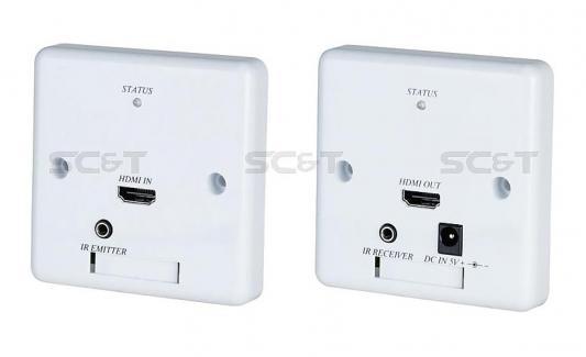 Комплект SC&T HW02 передатчик+приемник передачи HDMI с обратным ИК-повторителем в виде настенных врезных розеток
