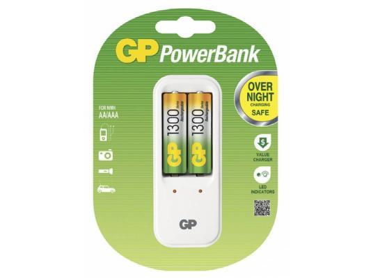 Зарядное устройство + аккумуляторы GP PB410GS130-2CR2 1300 mAh AA 2 шт зарядное устройство для аккумуляторов gp pb410gs130 2cr2