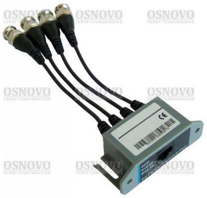 Приемопередатчик видеосигналов OSNOVO TP-C4R 4-канальный по витой паре 600 м