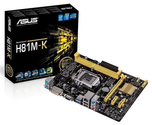 Материнская плата ASUS H81M-K S1150 Intel H81 2xDDR3 1xPCI-E 16x 2xPCI-E x1 2xSATAII 2xSATAIII USB3.0 D-Sub DVI 7.1 Sound Glan mATX Retail