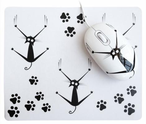 Мышь проводная CBR Crazy Cat белый USB + коврик мышь cbr aero battle коврик usb