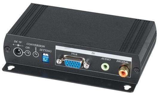 Преобразователь SC&T VH01 для VGA-сигнала и аудиосигнала в HDMI-сигнал. Преобразует VGA и стерео/цифровой S/PDIF аудиосигналы в формат HDMI Vh01-2