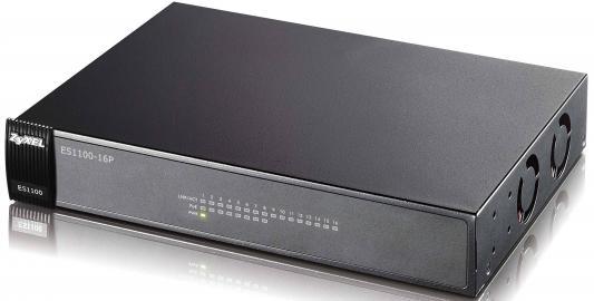 Коммутатор Zyxel ES1100-16P неуправляемый 16 портов Fast Ethernet 8xPoE коммутатор zyxel gs1900 8 eu0101f