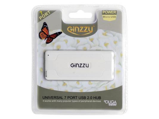 цена на Концентратор USB 2.0 HUB Ginzzu GR-415UW 7 портов, белый