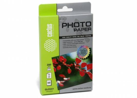 Фотобумага Cactus CS-GA620050 глянцевая 10x15 200 г/м2 50 листов фотобумага cactus cs ga6180500 глянцевая 10x15 180 г м2 500 листов