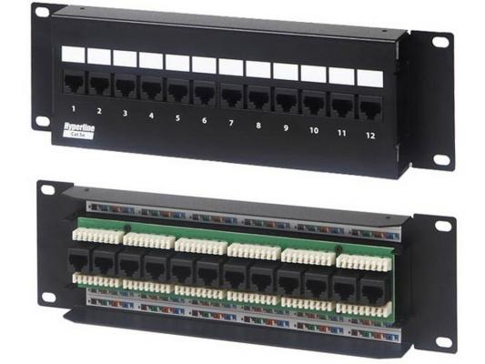 Патч-панель Hyperline PPW-12-8P8C-C5e-FR настенная 12 портов RJ-45(8P8C), категория 5е патч панель hyperline pp3 19 16 8p8c c5e 110d 19 1u 16 портов rj 45 категория 5e dual idc rohs черн