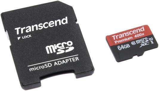 Карта памяти SDXC 64Gb Transcend UHS-I 300x Premium Class10 (TS64GSDU1) transcend microsdxc class 10 uhs i 64gb карта памяти адаптер