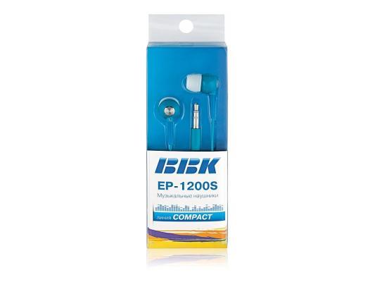 Наушники BBK EP-1200S синие (вкладыши) наушники bbk ep 1200s белые вкладыши