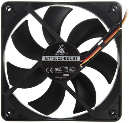 Вентилятор Glacialtech GT-12025-EDLB1 Sleeve 120x120x25 3pin+4pin molex 16dB 120g OEM