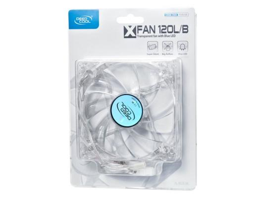 Вентилятор Deepcool XFAN 120L/B 120x120x25 3pin 26dB 1300rpm 119g голубой LED DP-FLED-XF120LB вентилятор deepcool wind blade 120 red 120x120x25 3pin 27db 1300rpm 119g красный led