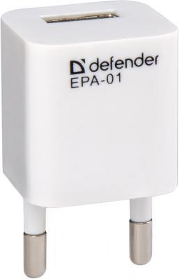 Сетевое зарядное устройство Defender EPA-01 1A белый 83523 сетевое зарядное устройство defender epc 21 2 х usb 2 1a белый 29701