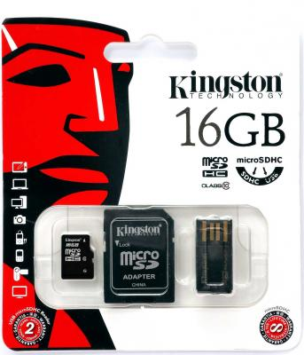 Карта памяти Micro SDHC 16GB Class 10 Kingston Multi Kit MBLY10G2/16GB + адаптер SD + USB-картридер цена